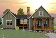 This unique vacation house plan has a unique layout with a spacious screened porch separating the optional 2-bedroom section from the main part of the house.