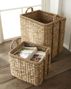 Handwoven Seagrass Baskets at Horchow make great bedside storage for books, magazines, fresh linens or just a handy laundry basket