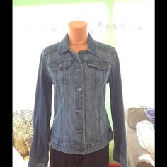 Pretty Eddie Bauer Distressed Denim Jacket This jacket is in great condition. It does have the distressed look. Eddie Bauer Jackets & Coats Jean Jackets