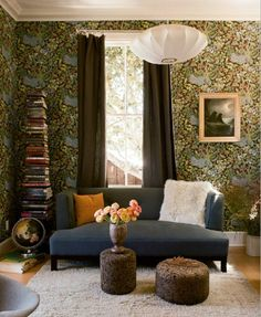 Heath ceramics co-owners' living room. Dig the book tower.