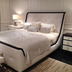 Chic #Parisian-style #bedroom furniture from @Bernhardt Furniture. Love that beautiful #bed frame!