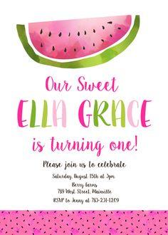 Invitación fiesta de cumpleaños de sandía chica 1er