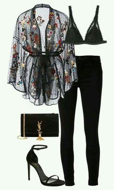 Fashion Outfits Fashion pants Fashion outfits Lace kimono Going out outfits - Luxury black outfit Classy and cute - Classy Going Out Outfits, Classy Outfits, Chic Outfits, Fashion Outfits, Womens Fashion, Fashion Ideas, Latest Fashion, Outfits Fiesta, Fashion Clothes