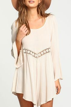 Lace Spliced Flare Sleeve Dress