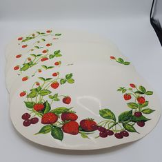 Vintage Strawberry placemats set of 6 Vinyl Strawberry and Cherry oval placemats by Brookesrepurpose on Etsy