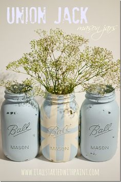 DIY:: How to Create distressed Chalk painted (mason or recycled jars) i ! Great Tutorial by it all started with paint (This is the same tutorial used for all the ones featured on Etsy !) Why buy when you can DIY ?