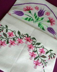 Cross Stitch Patterns, Embroidery, Flowers, Handmade, Crafts, Cross Stitch Flowers, Embroidery Ideas, Cross Stitch Embroidery, Towels