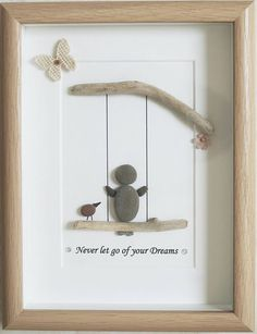 This is a beautiful small Pebble Art framed Picture - Never let go of your Dreams   handmade by myself using Pebbles and Driftwood  Size of Picture incl Frame : approx. 22cm x 17cm  This Picture is finished and only available as shown in Photo  Thanks for looking Doris   Facebook : https://facebook.com/Pebbleartbyjewlls4u      Product Code: P - Green
