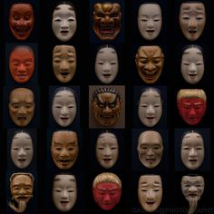 """Noh masks (能面 nō-men or 面 omote) all have names. They are carved from blocks of Japanese cypress (檜 """"hinoki""""), and painted with natural pigments on a neutral base of glue and crunched seashell."""