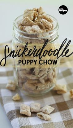 A simple cinnamon-sugar mixture tops this variation on Classic Puppy Chow for a treat reminiscent of freshly-baked cookies. Add to Mason jars with a tag and bow, and you've got a giftable holiday snack. | MyRecipes