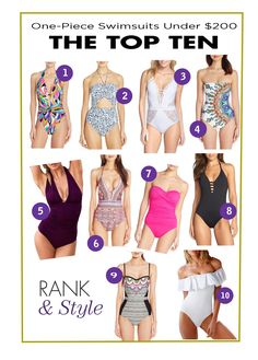 The Ten Best One-Piece Swimsuits Under $200 // Shop the best here!