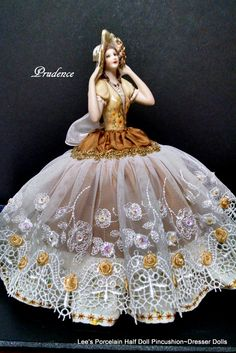 Prudence. Porcelain Half doll pincushion dresser doll. OOAK signed and dated. $149.00 Lee's Vintage Treasures @ Etsy.com