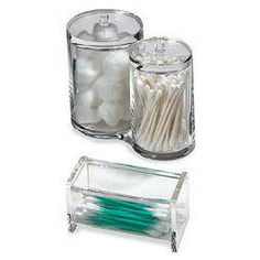The Container Store > Acrylic Cotton & Swab Holders multiple qtip holders and cotton balls and toner pads soap dish and tissue paper and tooth brush holder