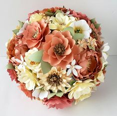 Coral and Ivory Paper Flower Wedding Bouquet - Customized Paper Flower Bouquets - Coral and Ivory Themed Wedding - Beach Wedding - Coral Wedding Flowers Coral Wedding Themes, Coral Wedding Flowers, Rustic Wedding Flowers, Wedding Flower Decorations, Flower Bouquet Wedding, Flower Bouquets, Wedding Dress, Wedding Decor, Bridal Packages
