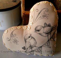 Valentine Heart Soft Sculpture Pincushion Pillow by  MichellePalmer January 2016