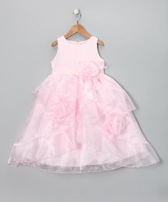 Take a look at this Pink Rosette Ruffle Party Dress - Girls by Growing Up on #zulily today!
