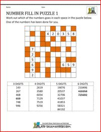 Free Math Puzzles - Number Fill in Puzzle 1 Fill In Puzzles, Number Puzzles, Maths Puzzles, Puzzles For Kids, Printable Crossword Puzzles, Printable Math Worksheets, Printable Numbers, Free Printables, Challenges
