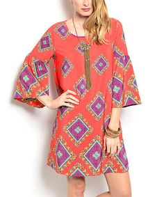 Look at this Red & Purple Diamond Shift Dress on #zulily today!