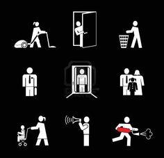Resultados de la Búsqueda de imágenes de Google de http://us.123rf.com/400wm/400/400/jazzia/jazzia1101/jazzia110100003/8654044-ludzie-przy-pracy-zestaw-ikon-proste-bialy-na-czarnym-kobieta-vacuuming-podlogi-mezczyzna-otwarte-dr.jpg