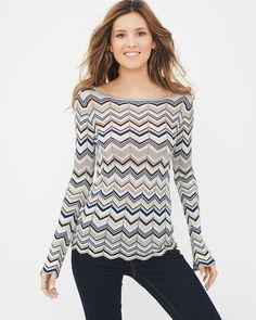 WHBM blue and white chevron sweater.