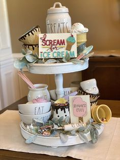 """**YOU ARE ONLY PURCHASING THE SIGN/S, NO OTHER DECOR IS INCLUDED.**I scream, you scream, we all scream for ice cream! 🍦 These cute signs are the perfect addition to your Summer tiered tray or ice cream bar. I scream for ice cream is apx 4""""x6"""". Summer fun is apx 3.5""""x5"""". These are both 1/4"""" thick. These signs will not stand on their own. They're meant to lean or be used with one of our pic holders. There's a separate listing in the shop for the picture holder. No hanging hardware is included. Du 3 Tier Stand, Tiered Stand, Ice Cream Decorations, Floral Decorations, Holiday Decorations, Ice Cream Sign, Summer Centerpieces, Centerpiece Ideas, Tray Styling"""