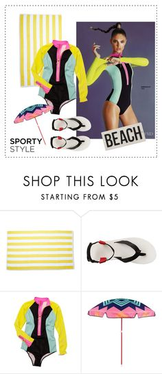 """Sporty Beach Style"" by xfrodo ❤ liked on Polyvore featuring Teva, H&M, Sunnylife, HomArt, beach, swimwear and sporty"