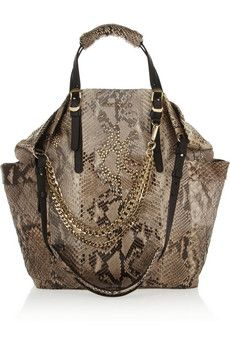 Jimmy Choo Blare leather-trimmed studded python tote | NET-A-PORTER