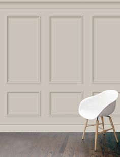 'Benjamin' XL panelling wallpaper in clay colourway featuring large wooden panels. Featured on the room sets of the IDEAL HOME SHOW in London. Perfect for a myriad of different uses, from tv set backdrops to retail display their uses are limitless.