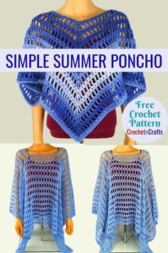 Free crochet pattern for the Simple Summer Poncho using Red Heart Super Saver Ombre. The poncho is given in one size, but can be adjusted as needed. Crochet Shawls And Wraps, Crochet Scarves, Crochet Clothes, Knitted Shawls, Crochet Woman, Crochet Baby, Crochet Summer, Neue Outfits, Easy Crochet Patterns