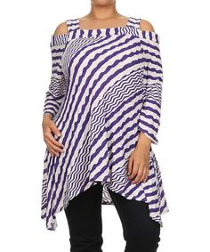 Another great find on #zulily! White & Purple Zigzag Cutout Tunic - Plus by Come N See #zulilyfinds