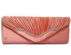 CORAL PINK SATIN DIAMANTE CLUTCH BAG WITH CHAIN STRAP - A-SHU.CO.UK, £12.00