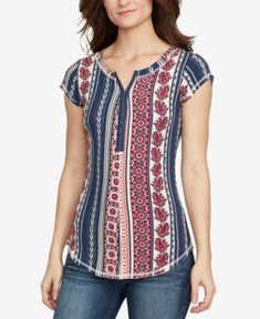 William Rast Cotton Printed Hook-Closure Top - Multi Socal Cool S Simple Kurta Designs, Chic Outfits, Fashion Outfits, Office Dresses For Women, Modelos Fashion, William Rast, Sleeves Designs For Dresses, Kurti Designs Party Wear, Pattern Fashion