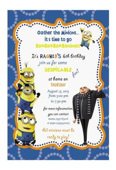 Minions Birthday Invitation Template Lovely Despicable Me Minion Birthday Invitation by Ckfireboots On Free Online Birthday Invitations, Minion Birthday Invitations, Birthday Invitation Templates, Invitation Wording, Minions Birthday Cakes, Invitation Design, Invitation Cards, Invites, First Birthday Parties