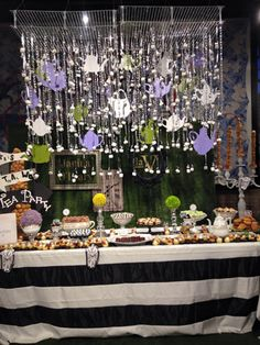 "'Alice in Wonderland' Theme: Janina O'Leary, executive pastry chef at LaV Restaurant & Wine Bar in Austin, Texas, created a ""Wonderland"" theme dessert table for Austin Food & Wine Festival's ""Sips and Sweets"" event in April. Hanging over the sweets table was a marshmallow chandelier that held forks holding marshmallows. Staffers cut down individual marshmallows for guests, who put them into chocolate teacups filled with homemade rhubarb jam."