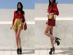 My bow, is your bow! (by Konstantina Tzagaraki) http://lookbook.nu/look/1787362-Chlo-High-Weisted-Shorts-Zara-Red-Shirt-Burberry