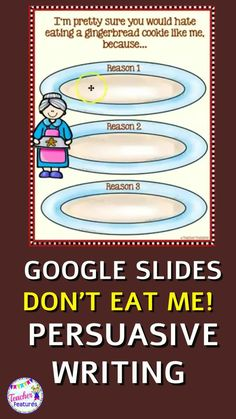 These Google Classroom Holiday graphic organizers have a Gingerbread Man Theme & are perfect for teaching persuasive writing. Students take the writing voice of a Gingerbread Man cookie & write down reasons why gingerbread men should not be eaten at Christmas or the holiday season. These slides make persuasive writing come alive, and gives it a fun Christmas twist! No prep and lots of fun! #DistanceLearningTpT