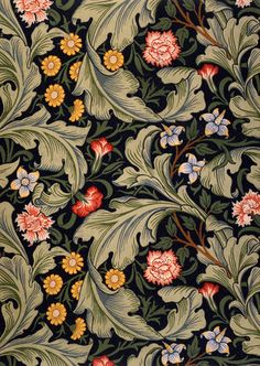 Wallpaper design, by William Morris © Victoria and Albert Museum / V Prints William Morris Wallpaper, William Morris Art, Morris Wallpapers, Deco Floral, Motif Floral, Floral Patterns, Vintage Floral, Arts And Crafts Movement, Of Wallpaper