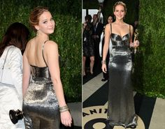 Jennifer Lawrence arrives at the 2013 Vanity Fair Oscar Party. Love this dress on her!