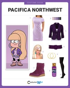 Dress up to cosplay Pacifica Northwest, the most popular girl and stereotypical rich girl on Disney's Gravity Falls. Cartoon Halloween Costumes, Nerd Costumes, Vampire Costumes, Cute Costumes, Disney Costumes, Halloween Ideas, Easy Cosplay, Cute Cosplay, Cosplay Outfits