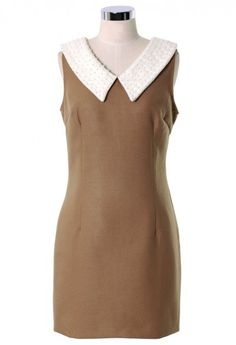 Pearly Collar Camel Shift Dress #Chicwish