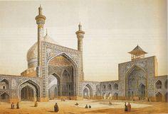 English: Shah Mosque in Isfahan فارسی: مسجد شاه اصفهان Date1800s SourceMonuments modernes de la Perse Author [show]Pascal Coste (1787–1879
