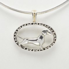 """Sterling Silver & 14Kt Gold Dachshund Pendant with 16"""" Omega Chain by Donna Pizarro fr her Animal Whimsey Collection of Fine Dog Jewelry"""