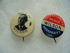 2 Woodrow Wilson Political Campaign Pin Badge Button No.2