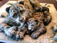 Snow Leopard and Cub - Cake by Baked4U