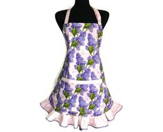 Lilacs and Butterflies Kitchen Apron for women   by ElsiesFlat