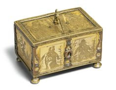 Michael Mann (active early 17th century) German, Augsburg, early 17th century CASKET signed: MICHAEL . MAN brass 4.6 by 7.4 by 4.9cm., 1¾ by 2 7/8  by 2in.