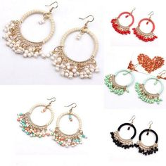 Charms Bohemian Seed Beads Pendant Drop Dangle Circle Hook Earrings Jewelry NEW…