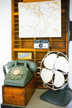 Vintage fan, rotary phone & camera