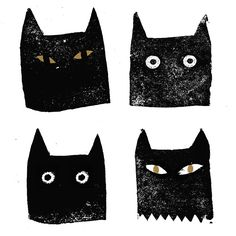 startled cats cut from carved from erasers. easy way to make custom stamps.