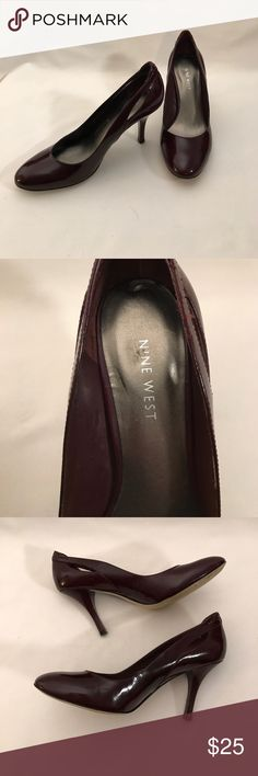 Nine West Dark burgundy heels size 6 1/2 These heels are in great shape! Only wear is on the bottom of the shoes!! They are burgundy and have a cute accent cut out in the heel!! Nine West Shoes Heels